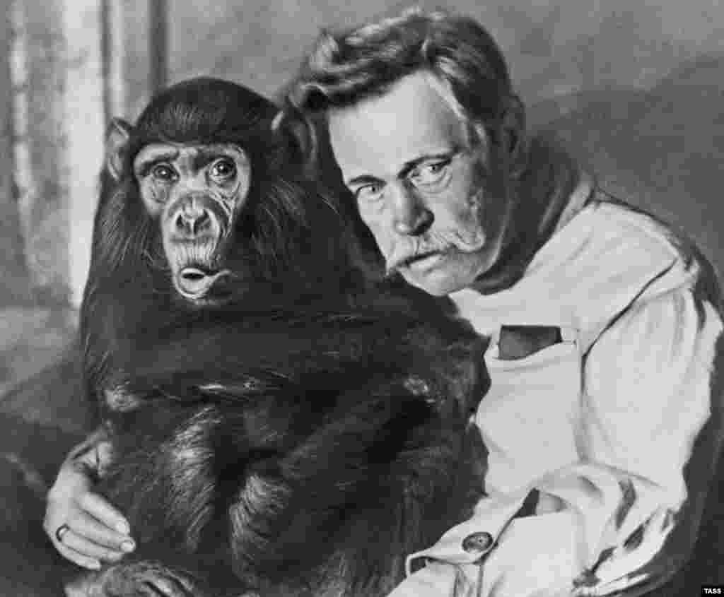 An undated image of Russian animal trainer Vladimir Durov. Much of the early image manipulation involved scratching the negative with a scalpel or needle, and painting fine lines directly onto the emulsion (seen here in the monkey's hair and lips).