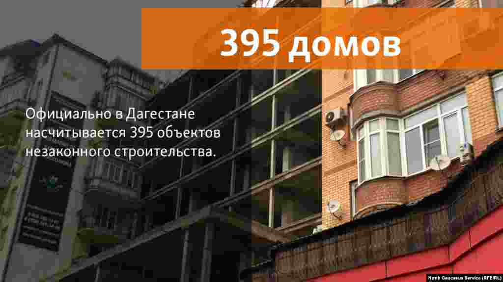 5.07.2018 // В Дагестане насчитывается 395 объектов незаконного строительства. Большинство из них – в Махачкале 328 (в Каспийске – 34, Буйнакске – 10, Дербенте – 11).