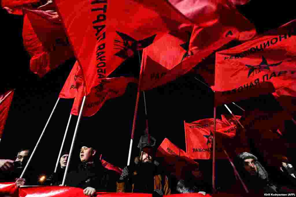 Supporters of Russian far-left organizations and movements attend a postelection protest rally in Moscow on March 19. (AFP/Kirill Kudryavtsev)