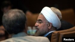 Iran's President Hassan Rohani at a meeting with United Nations Secretary-General Ban Ki-moon (not shown) during the UN General Assembly in New York on September 26