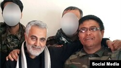 Quds Force commander Qassem Soleimani (left) with Afghan Alireza Tavasoli, commander of the Fatemiyoun Brigade, who was killed fighting in Syria.