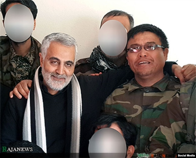 Former Quds Force Commander Qasem Soleimani (left) with Afghan Alireza Tivasolii, commander of the Fatemiyoun Brigade, who was killed fighting in Syria: (undated)