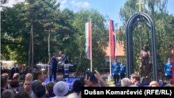 Janoš Ader i Aleksandar Vučić na otvaranju spomenika Sibinjanin Janku