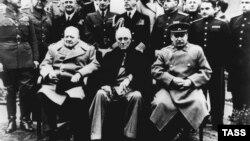 «Велика трійка» - Вінстон Черчилль, Франклін Рузвельт та Йосип Сталін на Ялтинській конференції. Лютий 1945 року