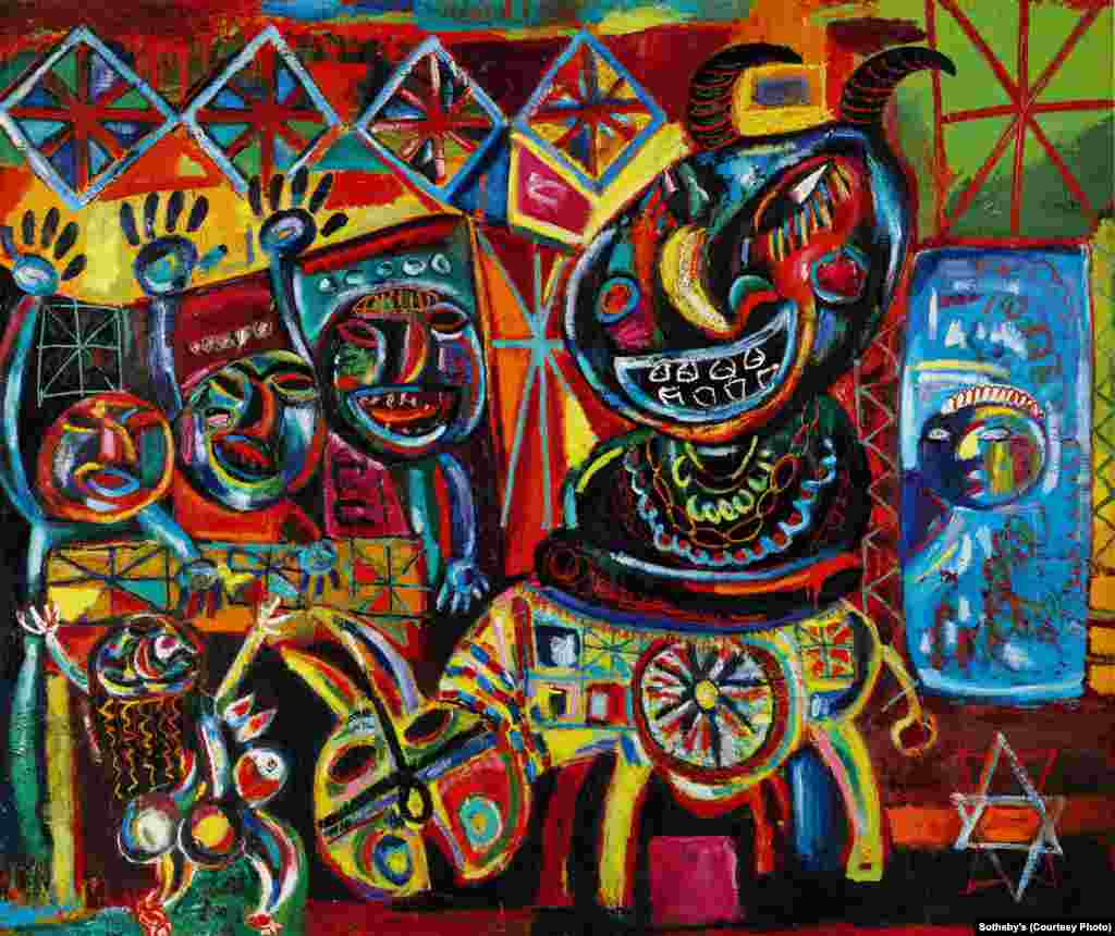 """""""Mafiozi,"""" a 1984 oil painting by Azerbaijani artist Javad MirJavadov (1923-1992). He was considered one of Azerbaijan's preeminent modernist painters and was staunchly opposed to the Socialist Realist school."""