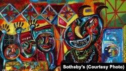 Londonun Sotheby qalereyasının Qafqaz və Mərkəzi Asiya sərgisində C.Mircavadovun rəsmi, 2013