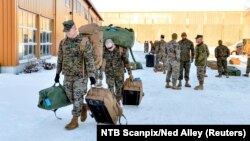 U.S. Marines attending winter-warfare training arrive in Stjordal, Norway, in January 2017.