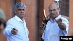 Armenia - Retired army General Vitaly Balasanian (L) and Varuzhan Avetisian, a leader of an armed group that seized a police station in Yerevan, 23Jul2016.