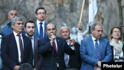 Armenia - The opposition Yelk alliance led by Aram Sarkisian (L), Edmon Marukian (C) and Nikol Pashinian holds a demonstration in Yerevan, 30Mar2017.