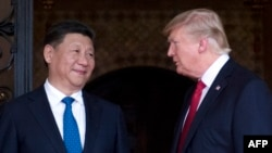 US President Donald Trump (right) and Chinese President Xi Jinping (file photo)