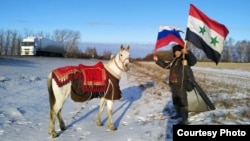 Adnan Azzam has been traveling with his horse to Moscow from Damascus since April 2019.