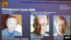 برندگان جایزه نوبل فیزیک، از چب به راست: کائو، بویل و اسمیت.