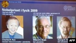 Нобелевские лауреаты (слева направо): Чарльз Као, Уиллард Бойл и Джордж Смит