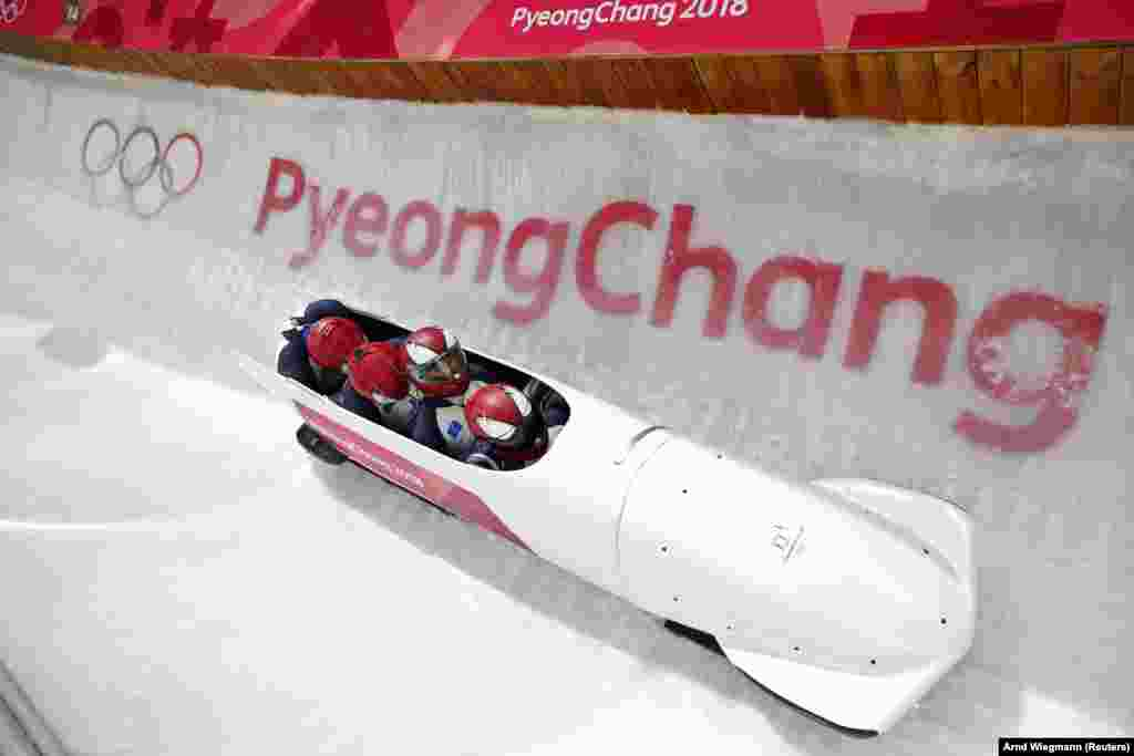 Bobsleigh: Forerunners conduct a test runbefore Men's 4-man Training at Olympic Sliding Centre during the Pyeongchang 2018 Winter Olympics, Pyeongchang, South Korea, February 22, 2018.
