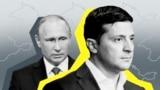 Фотоколаж: президенти України та Росії, Володимир Зеленський (л) і Володимир Путін