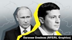 Președintele rus Vladimir Putin și omologul ucrainean Volodimir Zelenski.