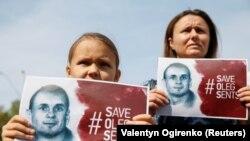 Акция в поддержку Олега Сенцова у посольства России в Киеве. Украина, 21 августа 2018 года.