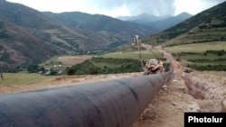 Armenia - The construction in Syunik province of a pipeline that will ship Iranian natural gas to Armenia, 21Aug2007.