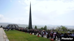 Armenia - Thousands of people walk to the Armenian Genocide Memorial in Yerevan, 24Apr2012.