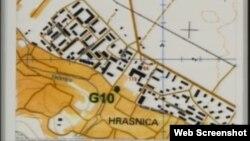 Mapa Hrasnice prikazana u Hagu