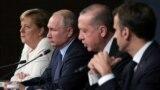 Cancelara germană, Angela Merkel, președintele rus, Vladimir Putin, cel turc, Tayyip Erdogan, și cel francez, Emmanuel Macron, la o recentă reuniune