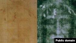 Туринська плащаниця: фотоі зліва, негатив справа. (Негатив контрастно підсиленний)
