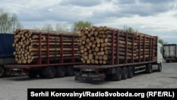 Лісовози стоять на трасі між Дитятками та Іванковим, 22 квітня 2015 року