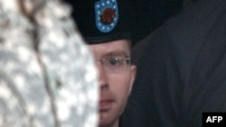 U.S. Army Private Bradley Manning leaves after the first day of his military trial at Fort Meade, Maryland, on June 3.