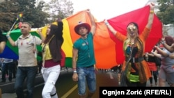 Gay-pride parade marchers in Belgrade