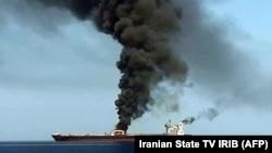 یکی از نفتکشها که در خلیج عمان مورد حمله قرار گرفت. June 13, 2019