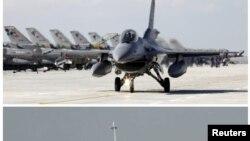 Российский Су-24 и сбивший его турецкий F16. Кликните для увеличения картинки.