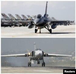 Түркияның F-16 ұшағы (үстіңгісі) мен Ресейдің Су-24 ұшағы.