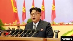 Ким Чен Ын выступает на съезде