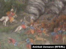 Чиркөөнүн михрабындагы монгол-татар атчандарынын сүрөтү. Паннонун бир бөлүгү. 6-ноябрь 2011
