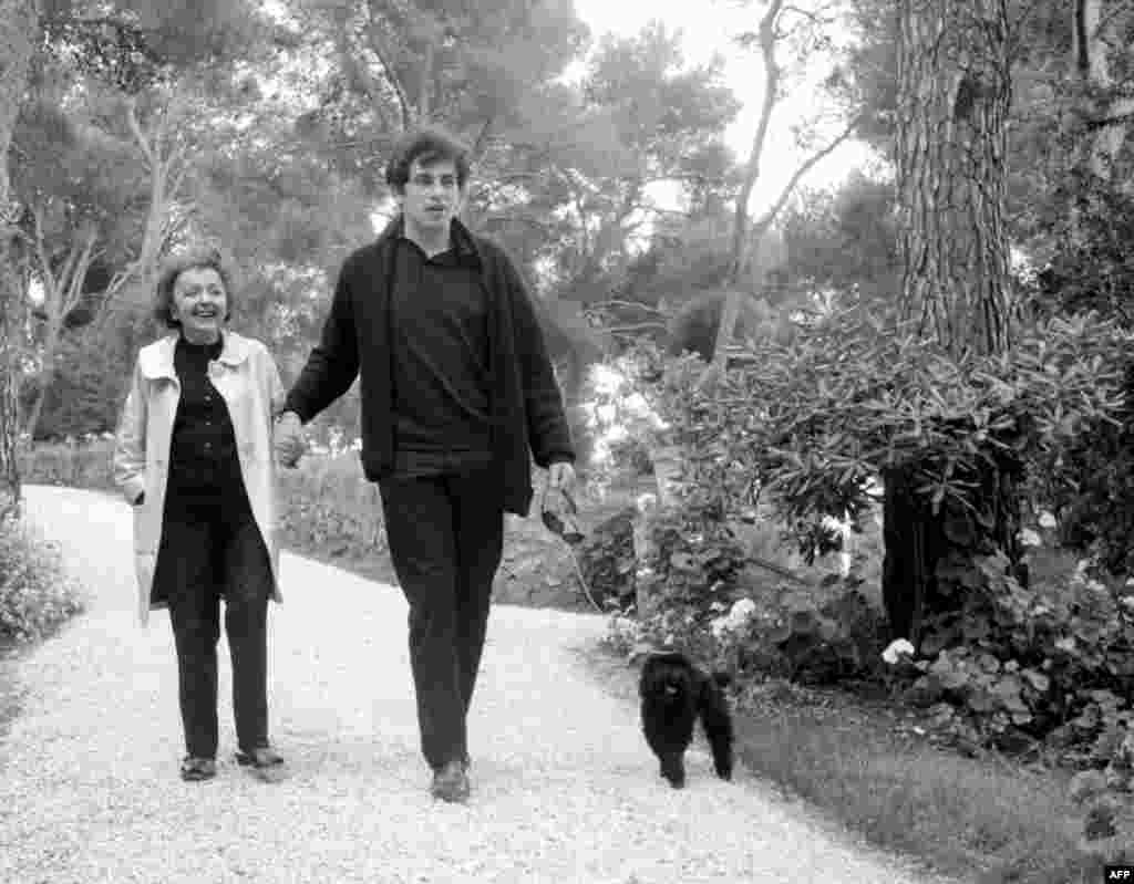 Piaf recovering from another illness, and her last husband, Theo Sarapo, walking in a park in Paris on June 1, 1963.