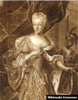 Портрет Шарлотты-Христины-Софии с арапчонком. Гравюра Христиана-Альбрехта Вортмана по оригиналу Иоганна Пауля Люддена. Около 1730