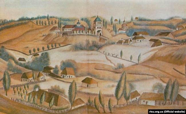 Дерманський монастир. Малюнок О. Єжова, 1845 рік