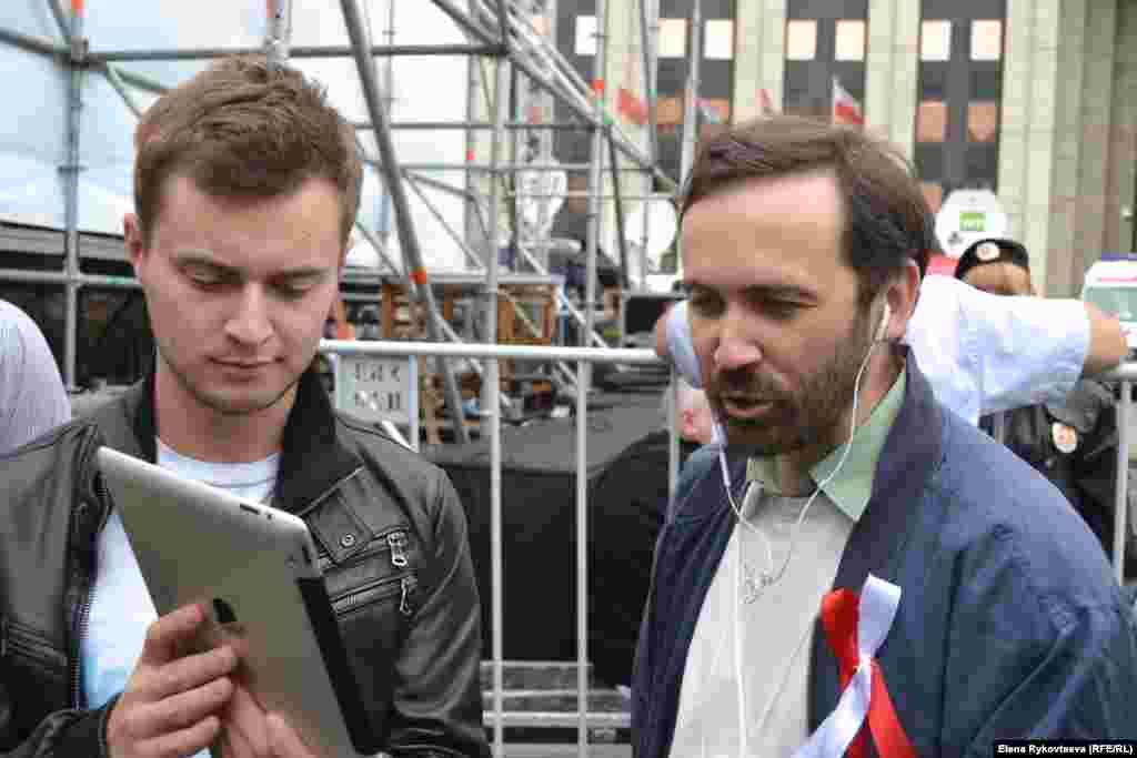Илья Пономарев: интервью после выступления на митинге. Москва, 15.09.12