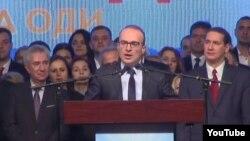 Носителот на кандидатската листа на ВМРО-ДПМНЕ во петтата изборна единица Антонио Милошоски зборува на партиска конвенција на ВМРО-ДПМНЕ во Метрополис арена на Скопски саем