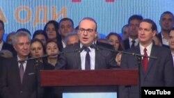 Носителот на кандидатската листа на ВМРО-ДПМНЕ во петтата изборна единица Антонио Милошоски зборува на партиска конвенција на ВМРО-ДПМНЕ