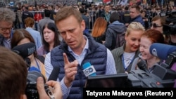 Russian opposition leader Alexei Navalny attends a protest against the blocking of the Telegram messenger app in Moscow on April 30.