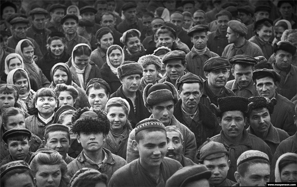 A worker's rally in the courtyard of a textile mill in Tashkent. Between 1925 and 1949, photographer Max Penson documented life in Soviet Uzbekistan.