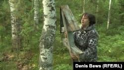 Ирина Янченко на месте массового захоронения