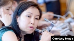 Kyrgyzstan--Aizada Kutueva, investigative reporter with RFE/RL's Central Asia Newswire. Bishkek, undated.