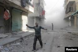 Раненый в Алеппо - 16 апреля 2014 года