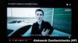 Yevgeny Nikulin is shown in a screen grab from a YouTube video, taken in Moscow, in July 2017.
