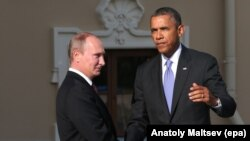 Russian President Vladimir Putin (left) and U.S. President Barack Obama exchange greetings prior to the first session of a G20 summit in St. Petersburg, Russia, on September 5.