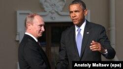Президент США Барак Обама (справа) и президент России Владимир Путин.
