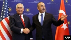 U.S. Secretary of State Rex Tillerson (left) with Turkish Foreign Minister Mevlut Cavusoglu in Ankara in March