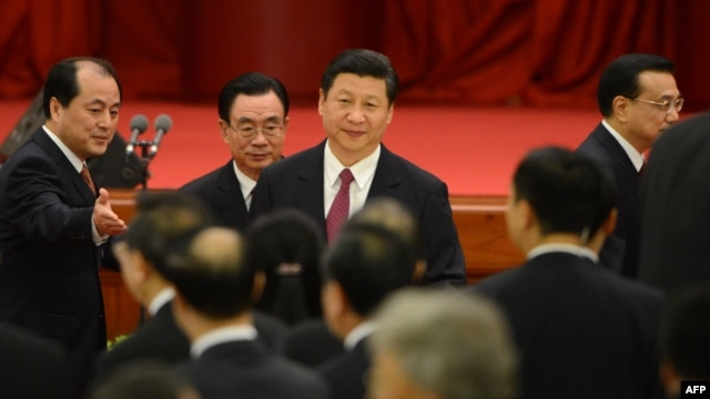 Chinese Vice President Xi Jinping (center) attends the 63rd National Day reception at the Great Hall of the People in Beijing on September 29.